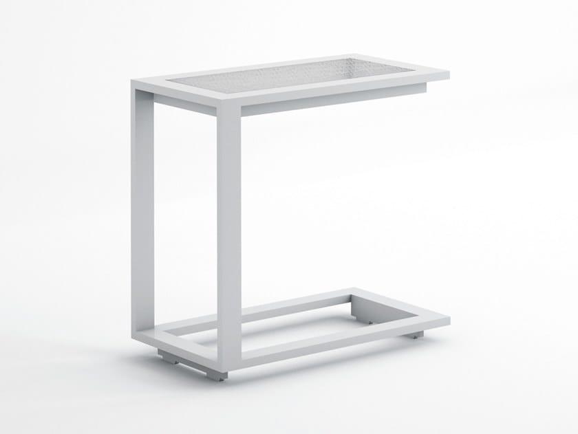 Rectangular thermo lacquered aluminium garden side table BLAU | Side table by GANDIABLASCO