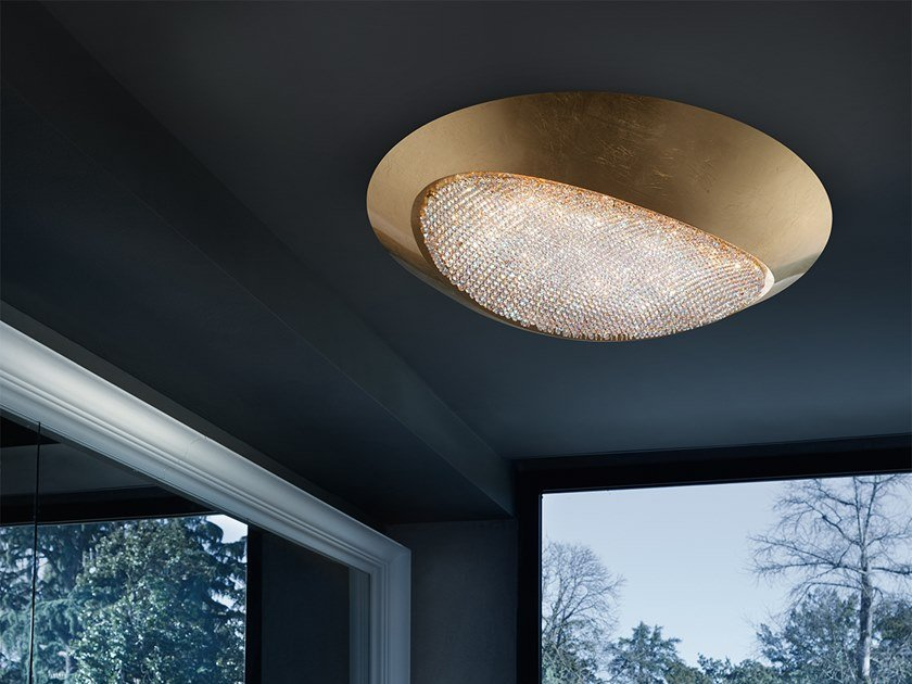Contemporary style direct light aluminium ceiling light with Swarovski® crystals BLINK LED PL90 by Masiero
