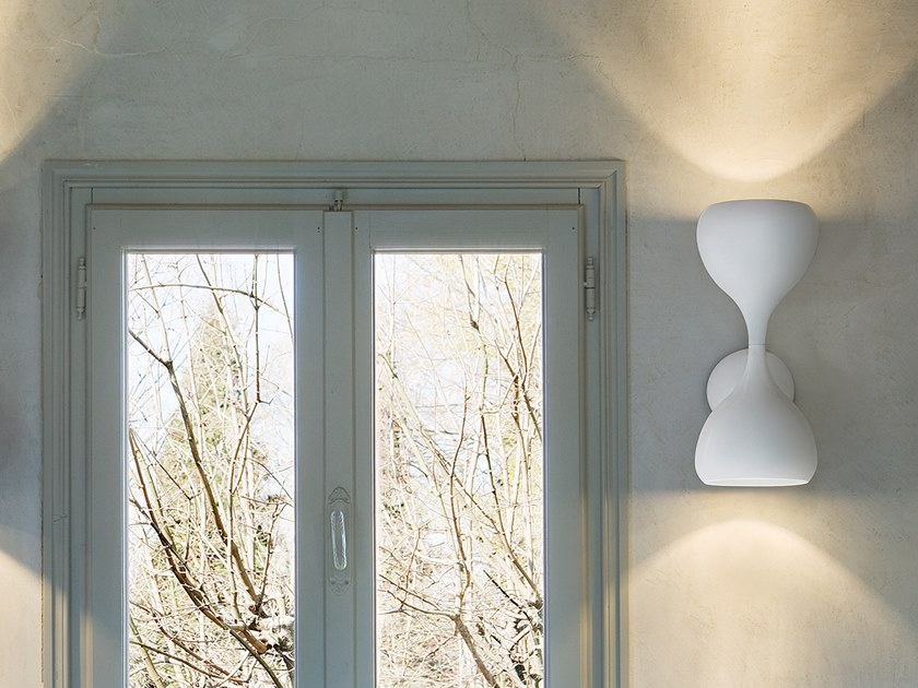 LED direct-indirect light painted metal wall lamp BLOB A2 45 by Masiero