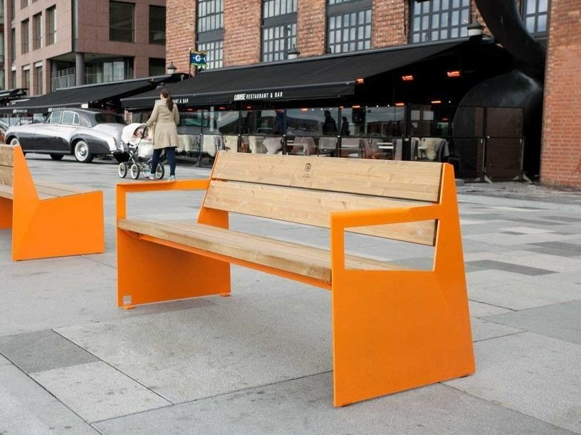 Steel and wood Bench with armrests BLOC | Bench with armrests by VESTRE
