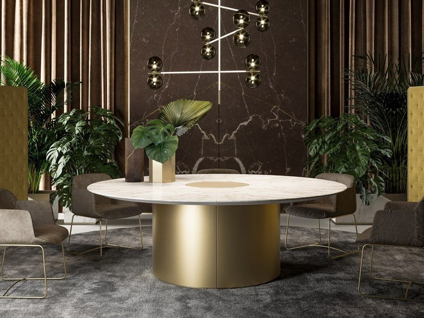 Round marble meeting table with cable management BLOCK 2.0 | Meeting table with cable management by PROF