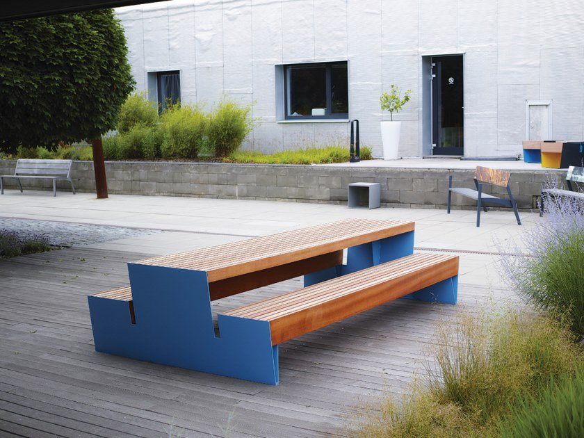 Superb Blocq Picnic Table With Integrated Benches By Mmcite1 Pabps2019 Chair Design Images Pabps2019Com