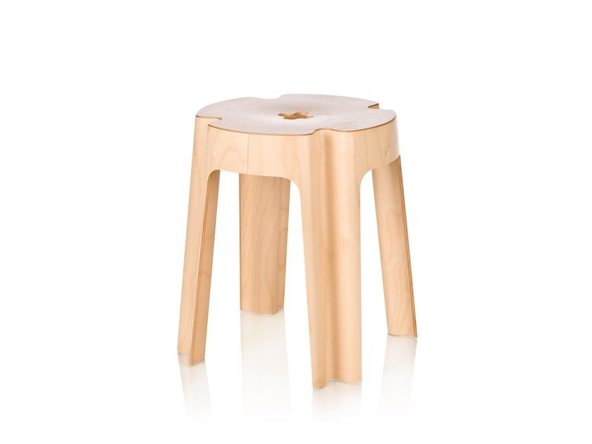 Stackable wooden stool BLOOM by RIGA CHAIR