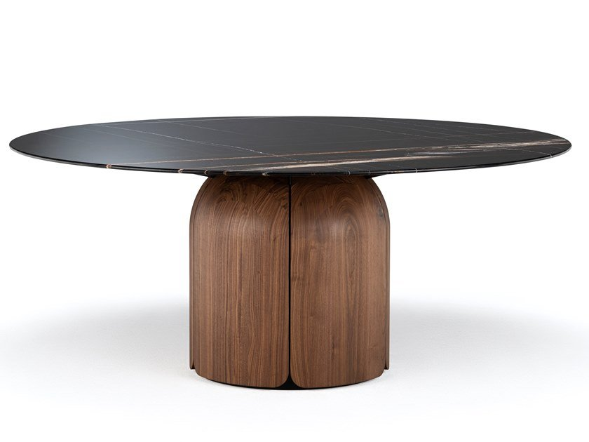 Round table with marble and solid wood BLOOM | Table by Milla & Milli