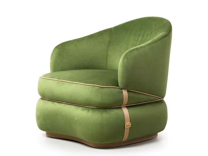 Velvet armchair with armrests BLOOM by Turri