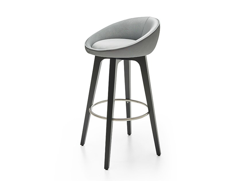 Leather stool with footrest BLOOM WA by PARLA