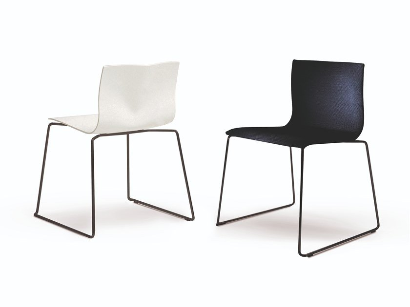 Sled base upholstered stackable fabric chair BLOW by Busnelli