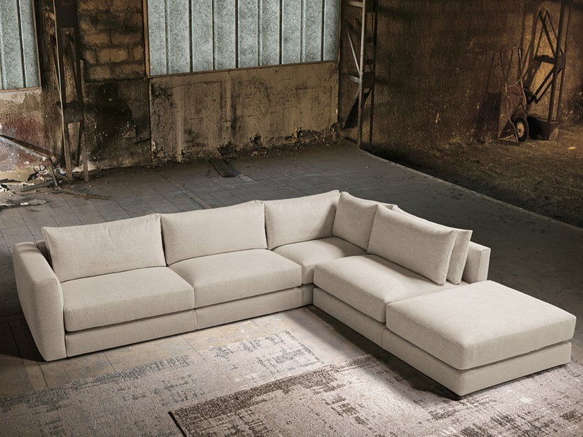 Fabric Sofa With Chaise Longue By