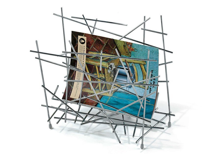 Chrome plated steel magazine rack BLOW UP | Magazine rack by Alessi