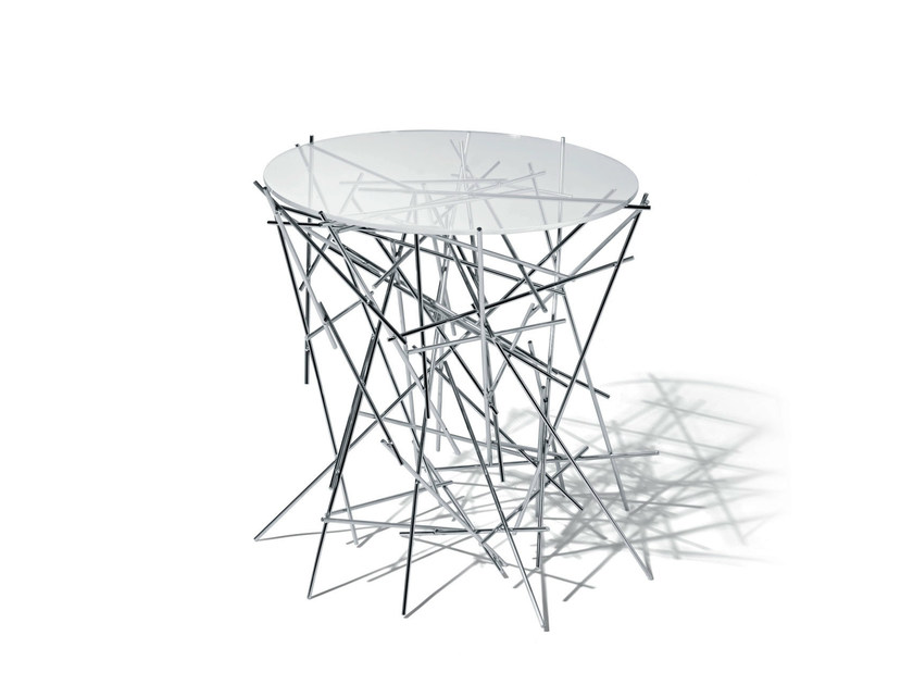 Round glass and steel coffee table BLOW UP | Coffee table by Alessi