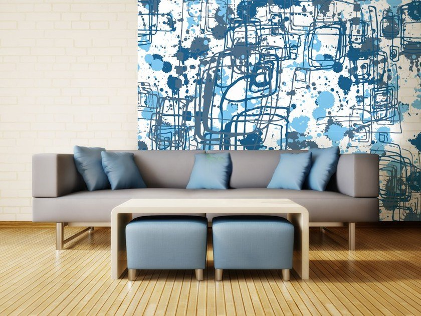 Motif nonwoven wallpaper BLU INK by MyCollection.it
