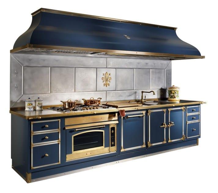 Cucina lineare in metallo BLU PROFONDO By Officine Gullo