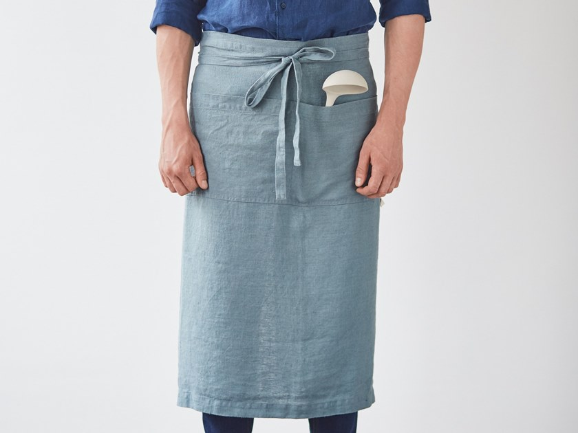 Washed linen waist apron BLUE FOG | Kitchen apron by Linen Tales