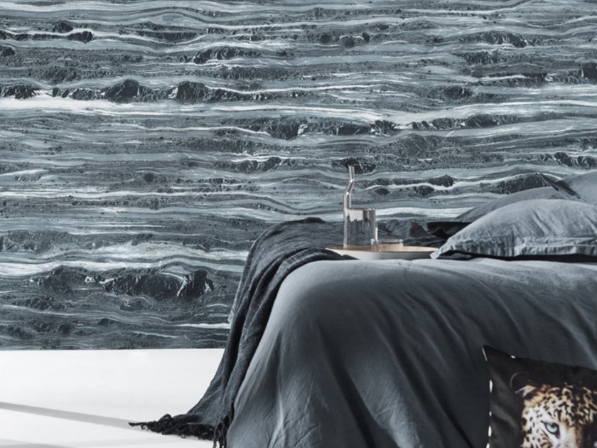 Washable Panoramic Wallpaper With Marble Effect Blue