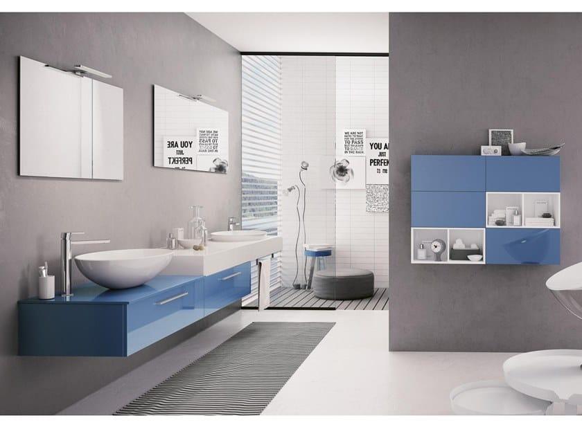 Mobile lavabo doppio sospeso con specchio BLUES 15 by BMT