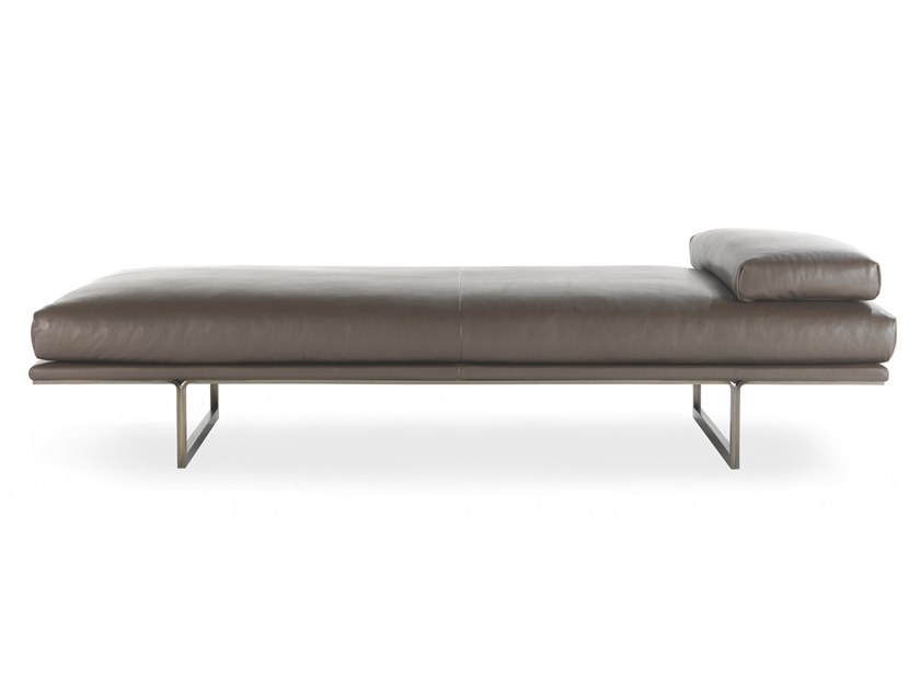 Upholstered leather day bed BLUMUN DAYBED by Busnelli