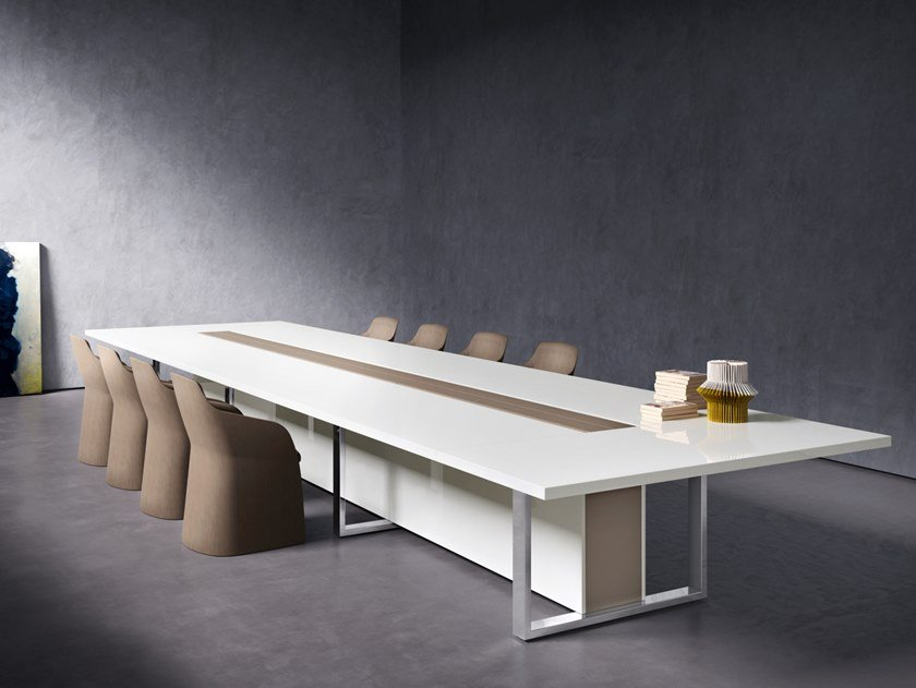 Lacquered rectangular wooden meeting table with cable management BOARD   Lacquered meeting table by Sinetica