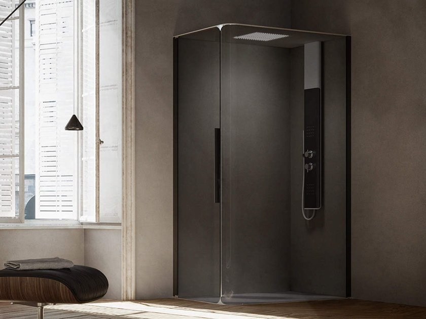 Corner shower cabin with hinged door BOBOX PLUS by RELAX