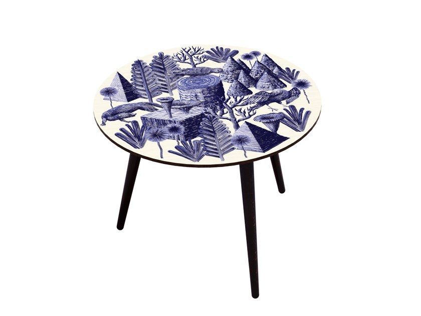 Beech wood and HPL side table BOCAGE BELETTE INDIGO XL by Bazartherapy
