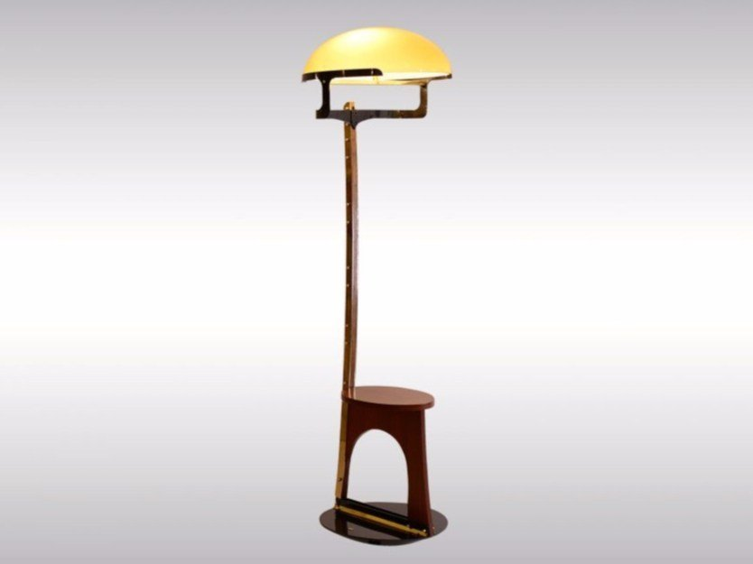 Wood and glass floor lamp BODENLEUCHTE E by Woka Lamps Vienna