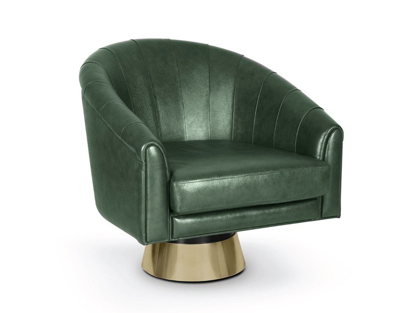 Swivel leather armchair with armrests BOGARDE   Swivel armchair by Delightfull