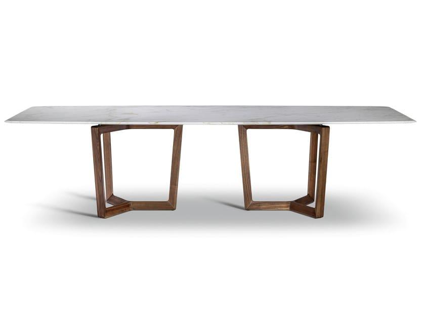 Rectangular wooden and marble table BOLERO RAVEL by Poltrona Frau