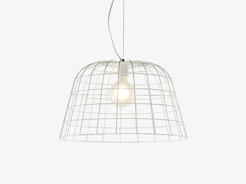 Stainless steel pendant lamp BOLET WIRE by Derlot Editions