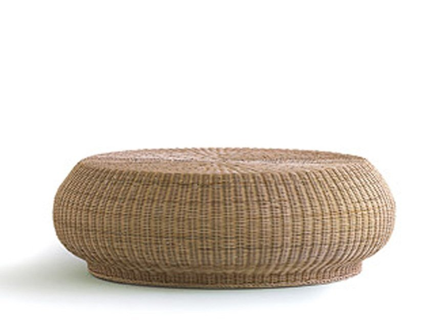 Low Round Woven Wicker Coffee Table