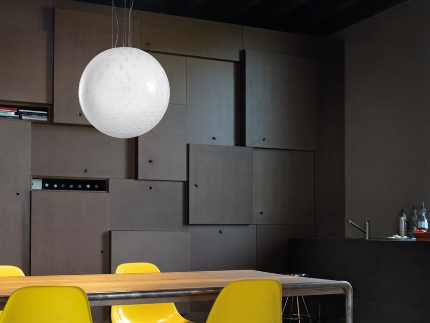 Glass pendant lamp BOLLE SP P by Vetreria Vistosi