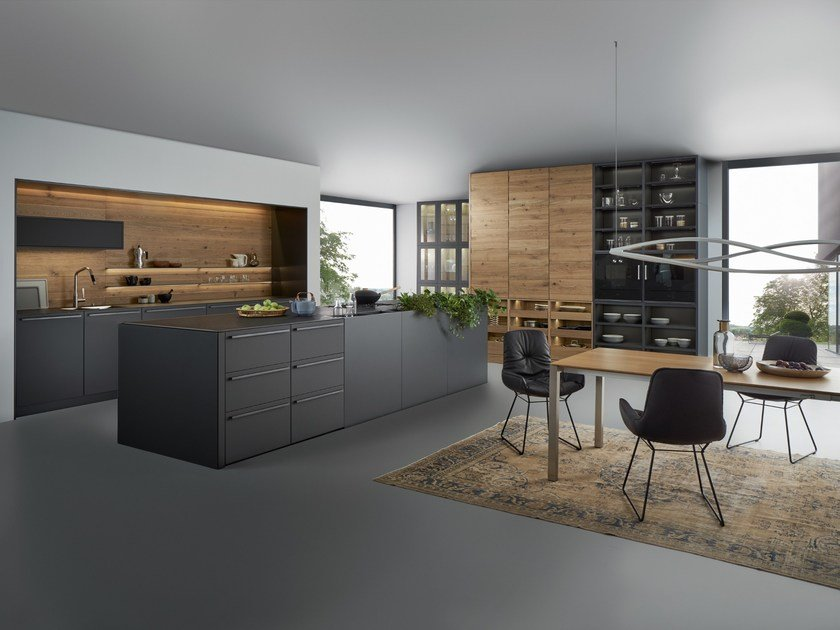 k che aus massivem holz mit ku cheninsel bondi valais by leicht. Black Bedroom Furniture Sets. Home Design Ideas
