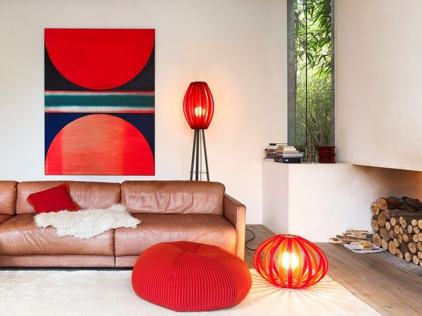 Merino wool floor lamp BONNET BRIGHT | Floor lamp by Casalis