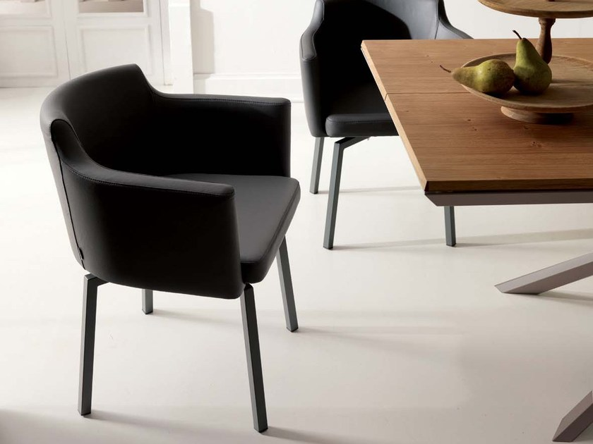 Leather chair with armrests BOOGIE by Ozzio Italia