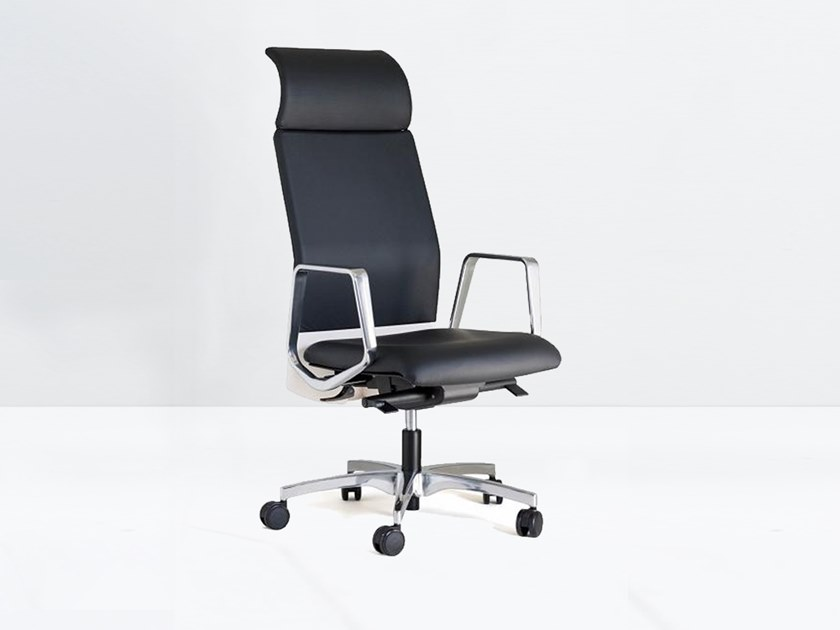 High-back leather executive chair with headrest BOOMERANG 9.400 VIP C/B-BR by delaoliva