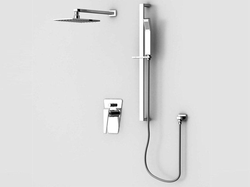 Shower wallbar with hand shower with mixer tap with overhead shower BOOMERANG | Shower wallbar by Gattoni Rubinetteria