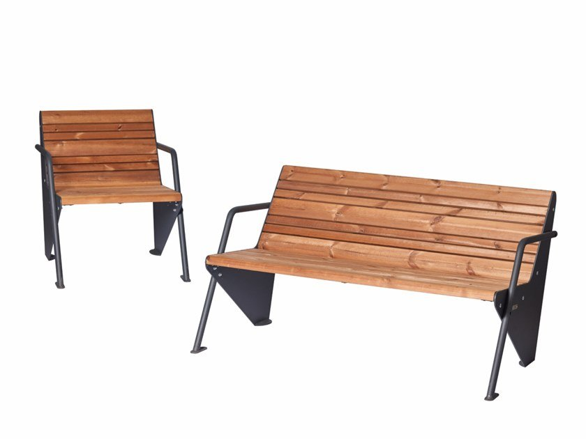 BOOMERANG | Panchina in acciaio e legno