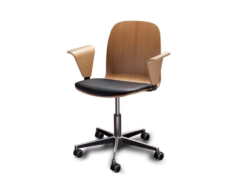 Wood veneer task chair with 5-Spoke base with casters BOSTON OFFICE by Danerka