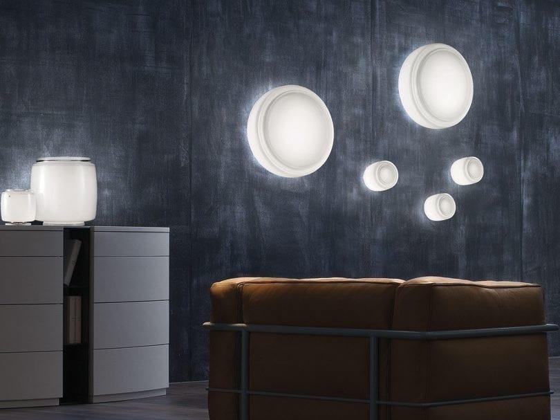 Direct light glass wall lamp BOT FA by Vetreria Vistosi