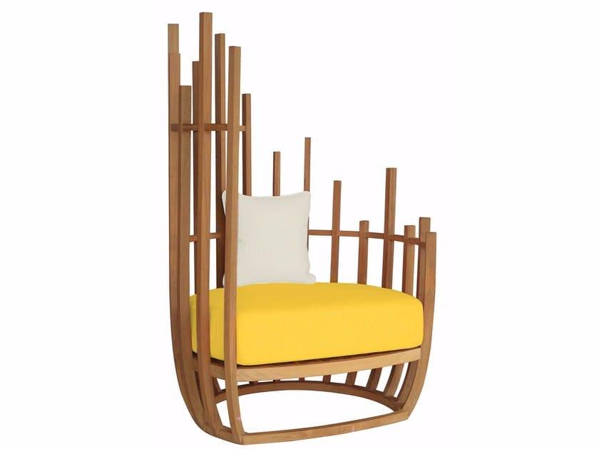 High-back teak garden armchair BOTTLE | Garden armchair by MOBIKA GARDEN