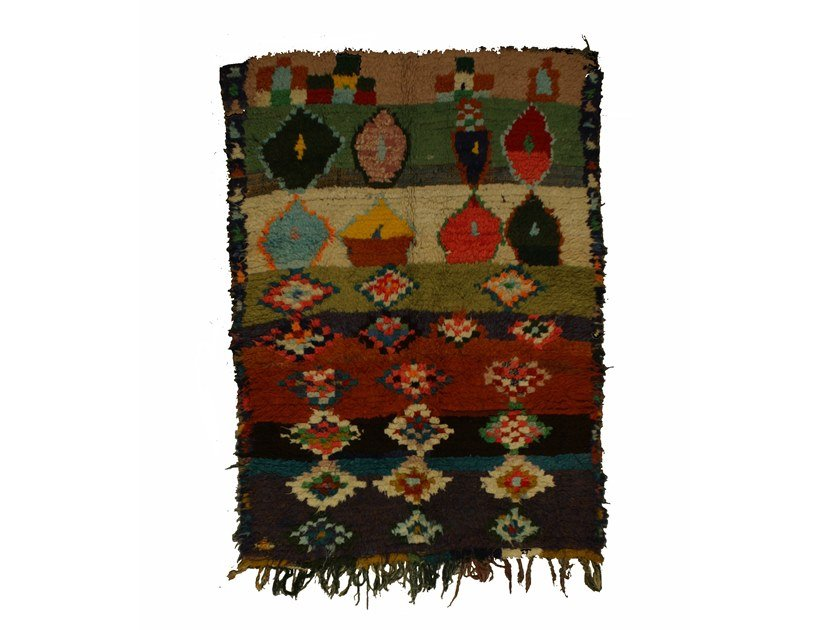 Patterned long pile rectangular wool rug BOUCHEROUITE TAA1018BE by AFOLKI