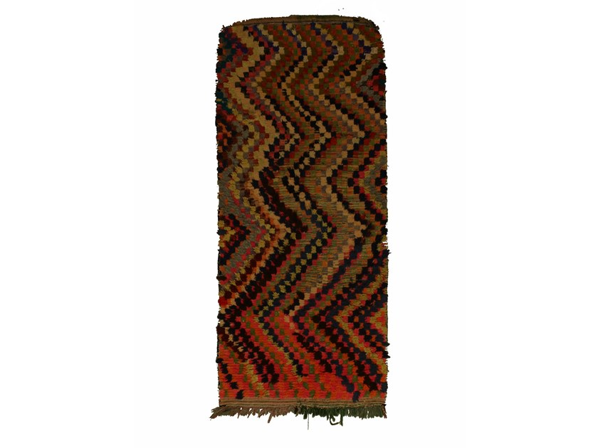 Patterned long pile rectangular wool rug BOUCHEROUITE TAA1020BE by AFOLKI