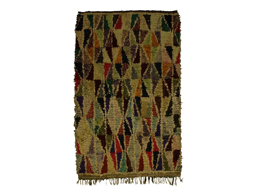 Patterned long pile rectangular wool rug BOUCHEROUITE TAA1033BE by AFOLKI