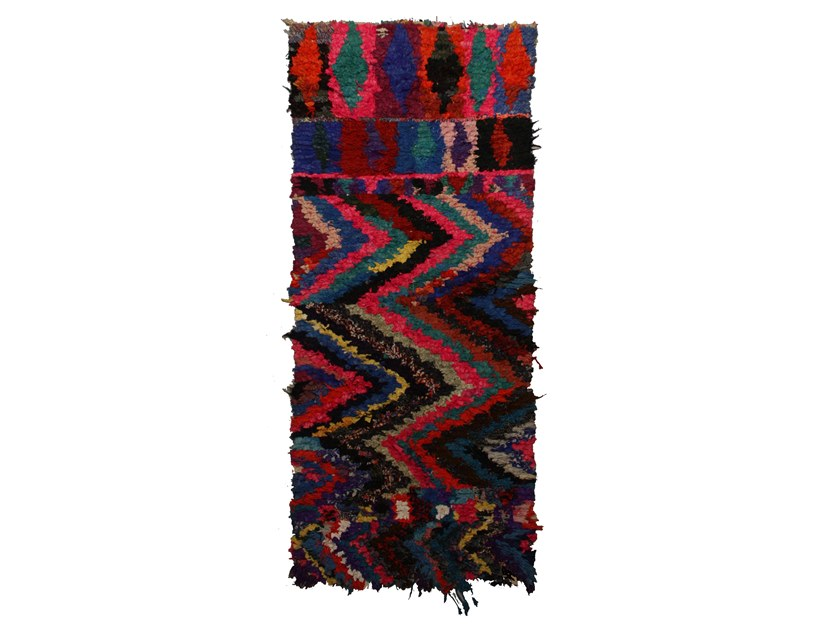Patterned long pile rectangular wool rug BOUCHEROUITE TAA950BE by AFOLKI