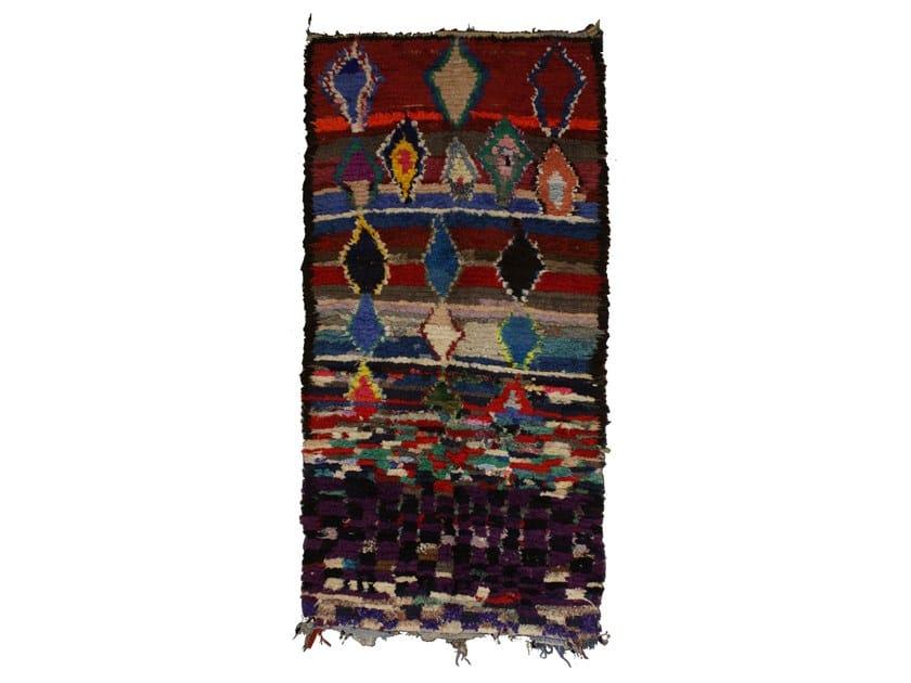 Patterned long pile rectangular wool rug BOUCHEROUITE TAA954BE by AFOLKI