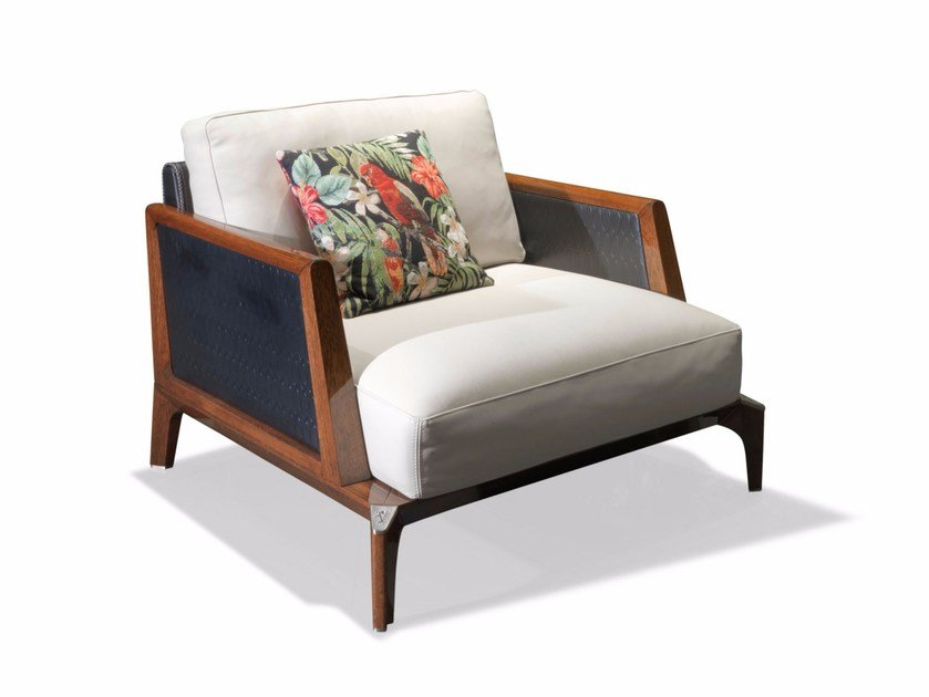 Fabric garden armchair with removable cover with armrests BOULEVARD | Garden armchair by Visionnaire