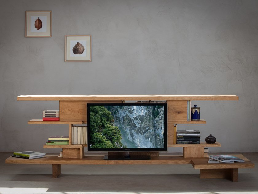 Freestanding double-sided oak bookcase with TV stand BOUQUIN by Xilolab