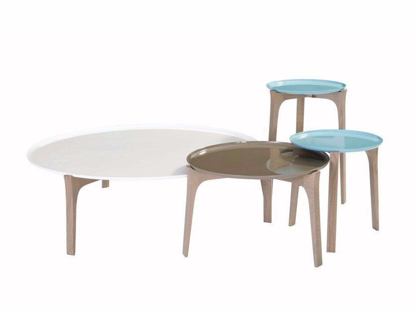 Round aluminium and wood coffee table BOW by ROCHE BOBOIS