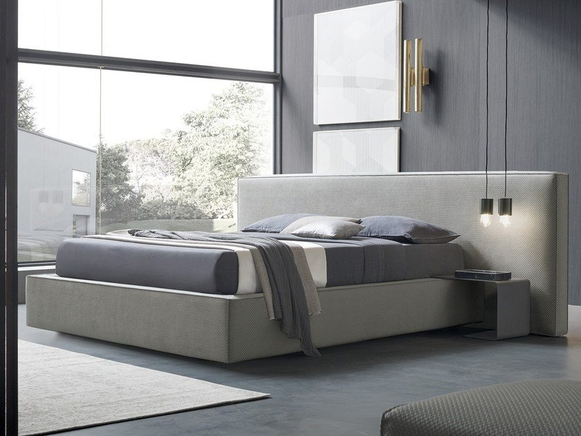Fabric storage bed with upholstered headboard BOWIE by Felis