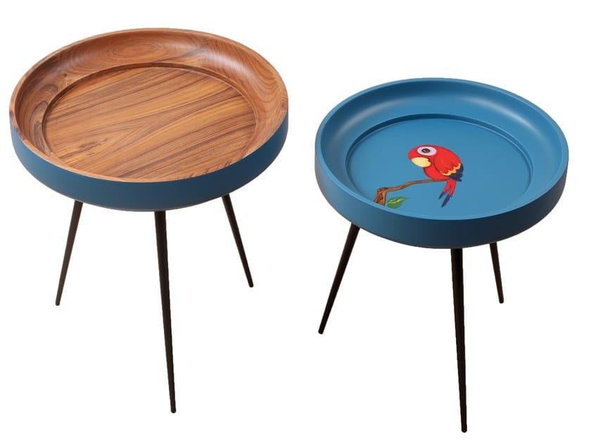 Round teak coffee table BOWL by ALANKARAM