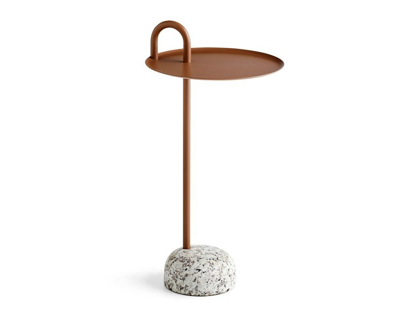 Round steel side table with granite base BOWLER by Hay