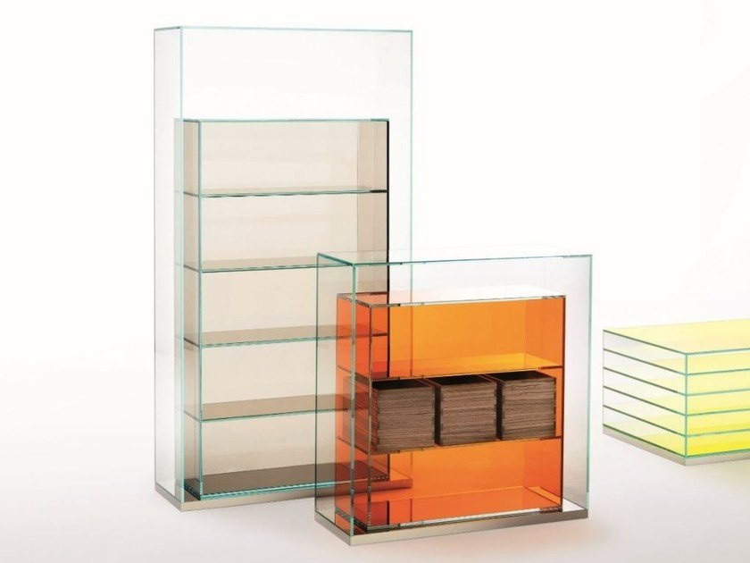 Freestanding crystal bookcase BOXINBOX | Bookcase by Glas Italia